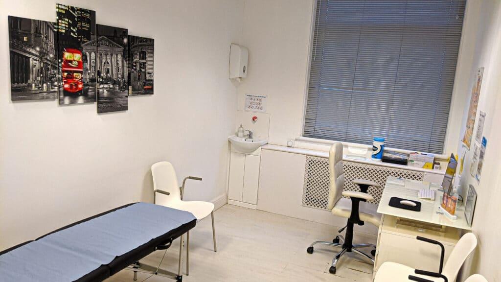 London dermatology clinic room 1